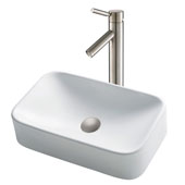 White Rectangular Ceramic Sink and Sheven Faucet, Satin Nickel