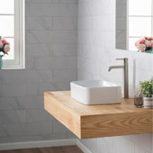 White Rectangular Ceramic Sink and Ramus Faucet, Satin Nickel
