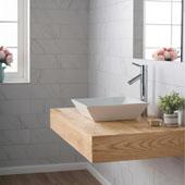 White Square Ceramic Sink and Sheven Faucet, Chrome