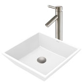 White Square Ceramic Sink and Sheven Faucet, Satin Nickel