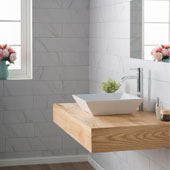 White Square Ceramic Sink and Ramus Faucet, Chrome