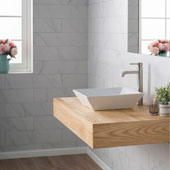 White Square Ceramic Sink and Ramus Faucet, Satin Nickel