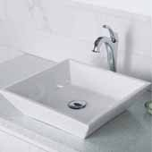 Elavo™ 16'' Square White Porcelain Ceramic Bathroom Vessel Sink and Chrome Arlo™ Faucet Combo Set with Pop-Up Drain, 16''W x 16''D x 4-1/2''H