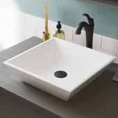 Elavo™ 16'' Square White Porcelain Ceramic Bathroom Vessel Sink and Oil Rubbed Bronze Arlo™ Faucet Combo Set with Pop-Up Drain, 16''W x 16''D x 4-1/2''H