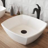 Elavo™ 16-1/2'' Square White Porcelain Ceramic Bathroom Vessel Sink and Matte Black Arlo™ Faucet Combo Set with Pop-Up Drain 16-1/2''W x 16-1/2''D x 5-1/2''H