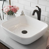 Elavo™ 18'' Rectangular White Porcelain Ceramic Bathroom Vessel Sink and Arlo™ Faucet Combo Set with Pop-Up Drain Oil Rubbed Bronze Finish 18-1/8''W x 16-1/8''D x 5-1/2''H