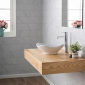 White Tulip Ceramic Sink and Ramus Faucet, Chrome