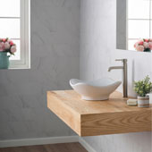 White Tulip Ceramic Sink and Ramus Faucet, Satin Nickel