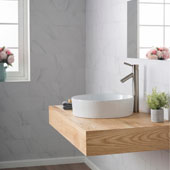 White Round Ceramic Sink and Sheven Faucet, Satin Nickel