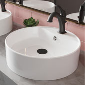 Elavo™ 18' Round White Porcelain Ceramic Bathroom Vessel Sink with Overflow and Matte Black Arlo™ Faucet Combo Set with Lift Rod Drain 18-1/4'' Diameter x 5-1/2''H