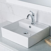 Elavo™ 18-1/2'' Square White Porcelain Ceramic Bathroom Vessel Sink with Overflow and Arlo™ Faucet Combo Set with Lift Rod Drain Chrome Finish 18-1/2''W x 18-1/2''D x 5-3/4''H