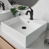 Elavo™ 18-1/2'' Square White Porcelain Ceramic Bathroom Vessel Sink with Overflow and Matte Black Arlo™ Faucet Combo Set with Lift Rod Drain 18-1/2''W x 18-1/2''D x 5-3/4''H