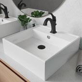 Elavo™ 18-1/2'' Square White Porcelain Ceramic Bathroom Vessel Sink with Overflow and Arlo™ Faucet Combo Set with Lift Rod Drain Oil Rubbed Bronze Finish 18-1/2''W x 18-1/2''D x 5-3/4''H