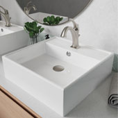 Elavo™ 18-1/2'' Square White Porcelain Ceramic Bathroom Vessel Sink with Overflow and Spot Free Arlo™ Faucet Combo Set with Lift Rod Drain Stainless Brushed Nickel Finish 18-1/2''W x 18-1/2''D x 5-3/4''H