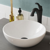 Elavo™ 14' Round White Porcelain Ceramic Bathroom Vessel Sink and Matte Black Arlo™ Faucet Combo Set with Pop-Up Drain 13-11/16'' Diameter x 5-1/4''H