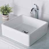 Elavo™ 15'' Square White Porcelain Ceramic Bathroom Vessel Sink and Chrome Arlo™ Faucet Combo Set with Pop-Up Drain, 15'W x 15'D x 5-1/4'H
