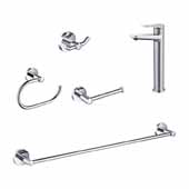 Indy™ Single Handle Vessel Bathroom Faucet Set With 24'' W Towel Bar, Paper Holder, Towel Ring And Robe Hook In Chrome