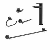 Indy™ Single Handle Vessel Bathroom Faucet Set With 24'' W Towel Bar, Paper Holder, Towel Ring And Robe Hook In Matte Black