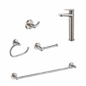 Indy™ Single Handle Vessel Bathroom FaucetSet In Spot-Free Stainless Steel With Matching 24'' W Towel Bar, Paper Holder, Towel Ring And Robe Hook