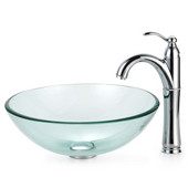 Clear Glass Vessel Sink and Rivera Faucet, Chrome
