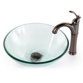 Clear Glass Vessel Sink and Rivera Faucet, Oil Rubbed Bronze