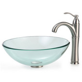 Clear Glass Vessel Sink and Rivera Faucet, Satin Nickel