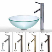 Clear Glass Vessel Sink and Sheven Faucet  Set, Satin Nickel