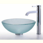 Clear Glass Vessel Sink and Ramus Faucet  Set, Chrome
