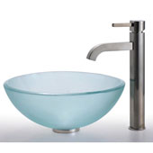 Frosted 14 inch Glass Vessel Sink and Ramus Faucet Set, Satin Nickel