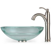 Clear 34mm edge Glass Vessel Sink and Rivera Faucet, Satin Nickel