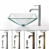 Clear Aquamarine Glass Sink and Ramus Faucet, Satin Nickel