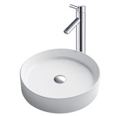 White Round Ceramic Sink and Sheven Faucet, Chrome