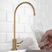 Purita™ Single Handle Kitchen Water Filtration Faucet in Brushed Brass Finish, Spout Height: 8-3/8'', Spout Reach: 6''