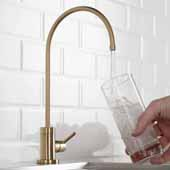Purita™ Single Handle Kitchen Water Filtration Faucet in Brushed Gold Finish, Spout Height: 8-3/8'', Spout Reach: 6''