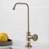 Urbix™ Single Handle Kitchen Water Filter Faucet in Brushed Gold Finish, Spout Height: 9-3/8'', Spout Reach: 5-3/8''