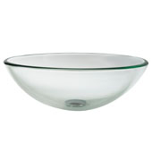 Clear Glass Vessel Sink, 16-1/2'' Dia. x 5-1/2'' H