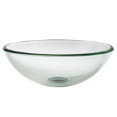 Clear 14'' Glass Vessel Sink, 14'' Dia. x 5-1/2'' H
