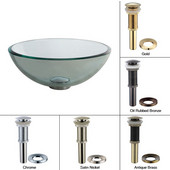 Clear Glass Vessel Sink with Satin Nickel Pop-Up Drain & Mounting Ring, 14''D x 5-1/2''H