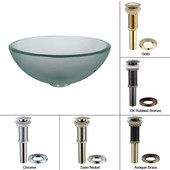Frosted Glass Vessel Sink with Satin Nickel Pop-Up Drain & Mounting Ring, 14''D x 5-1/2''H