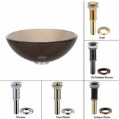 Clear Brown Glass Vessel Sink with Oil Rubbed Bronze Pop-Up Drain & Mounting Ring, 14''D x 5-1/2''H