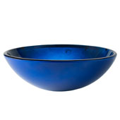 Irruption Blue Glass Vessel Sink, 16-1/2'' Dia. x 5-1/2'' H