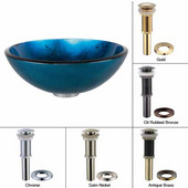 Irruption Blue Glass Vessel Sink with Satin Nickel Pop-Up Drain & Mounting Ring, 16-1/2''D x 5-1/2''H