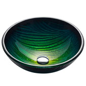 Nature Series Nei Round Glass Vessel Sink, 17'' Dia x 6'' H, Multicolor Glass