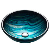 Nature Series Ladon Round Glass Vessel Sink, 17'' Dia x 6'' H, Multicolor Glass
