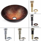 Copper Illusion Glass Vessel Sink with Oil Rubbed Bronze Pop-Up Drain & Mounting Ring, 16-1/2''D x 5-1/2''H