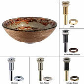 Ares Glass Vessel Sink with Oil Rubbed Bronze Pop-Up Drain & Mounting Ring, 16-1/2''D x 5-1/2''H