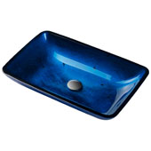 KRAUS Rectangular Blue Glass Vessel Bathroom Sink, 22'' W x 14'' D x 4'' H