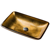 KRAUS Rectangular Gold Glass Vessel Bathroom Sink, 22'' W x 14'' D x 4'' H