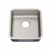 Dex 17'' Undermount 16 Gauge Antibacterial Single Bowl ADA Kitchen Sink in Stainless Steel, 16-7/8'' W x 18-3/4'' D x 5-1/2'' H