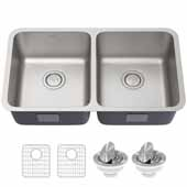 Dex 33'' Undermount 16 Gauge Antibacterial Double Bowl Kitchen Sink in Stainless Steel, 32-7/8'' W x 18-3/4'' D x 9-1/4'' H